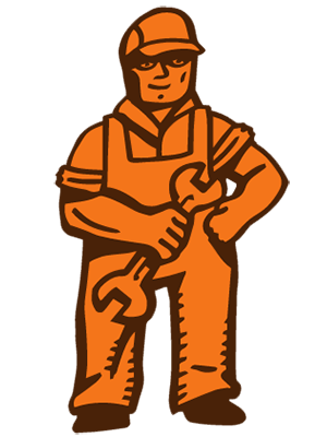 Mechanic standing with a wrench.
